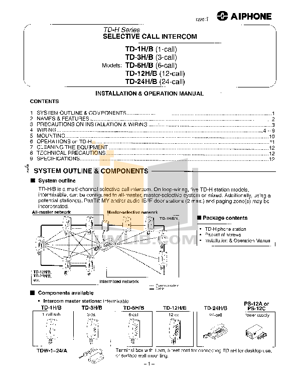 pdf for Aiphone Other TA-T Intercoms manual