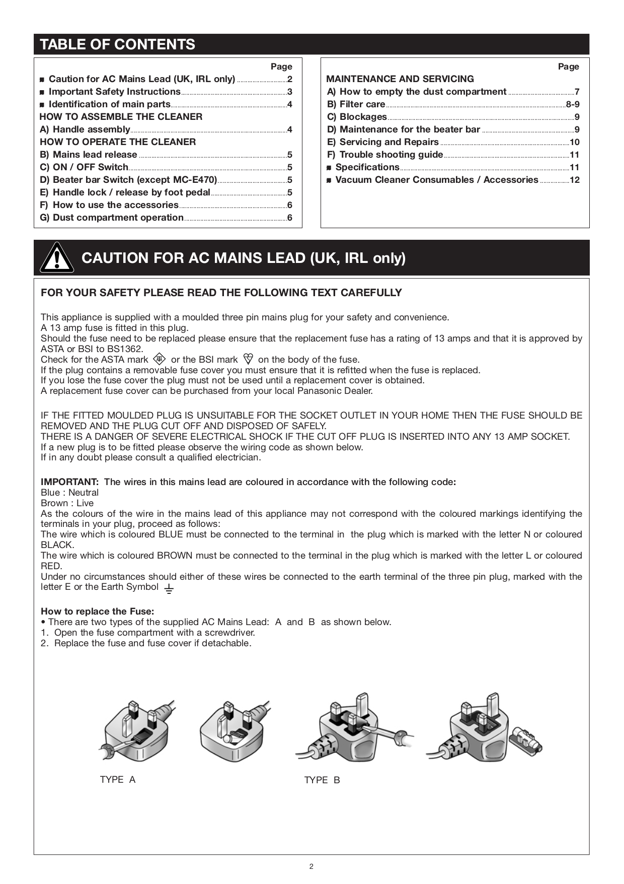 PDF manual for Panasonic Vacuum MC-V315