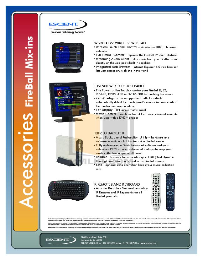 pdf for Escient Other EWP-2000 V2 Remote Control manual