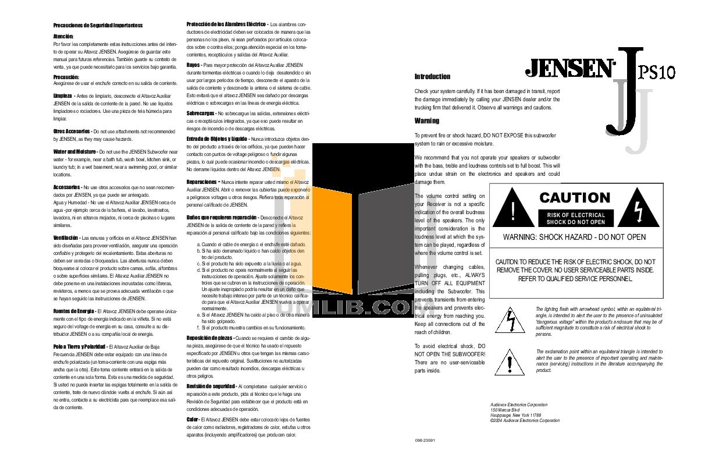 pdf for Audiovox Subwoofer JPS10 manual