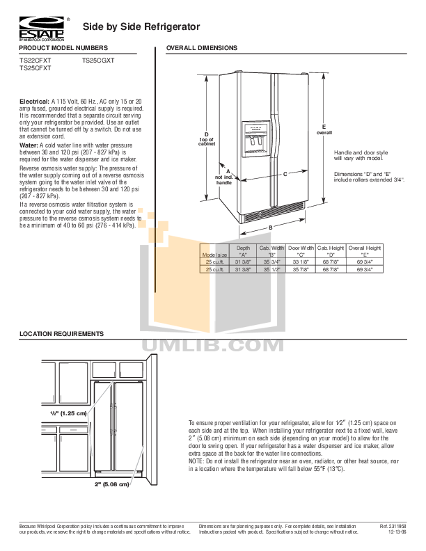 pdf for Estate Refrigerator TS22CFXT manual