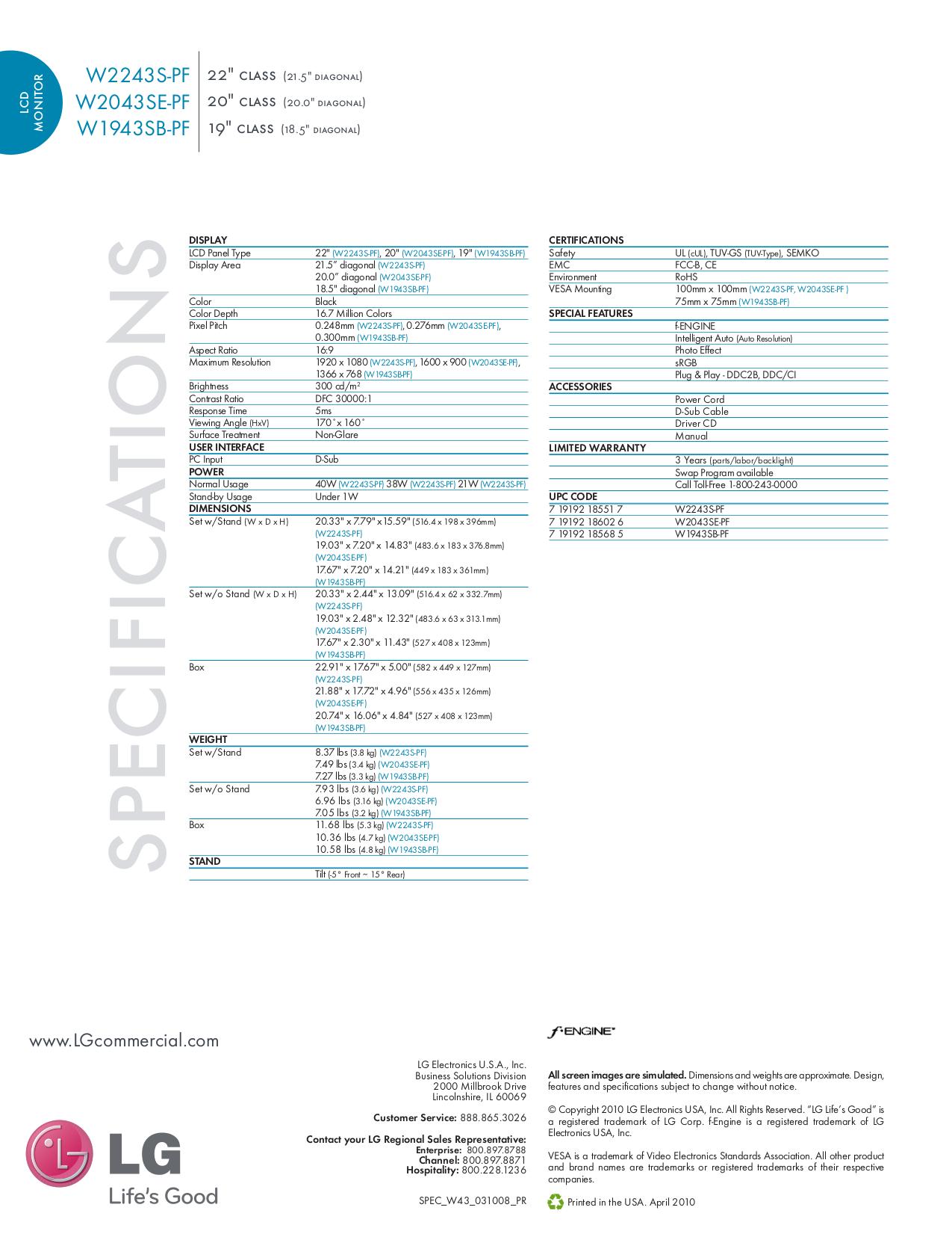 LG Monitor W2043SE pdf page preview