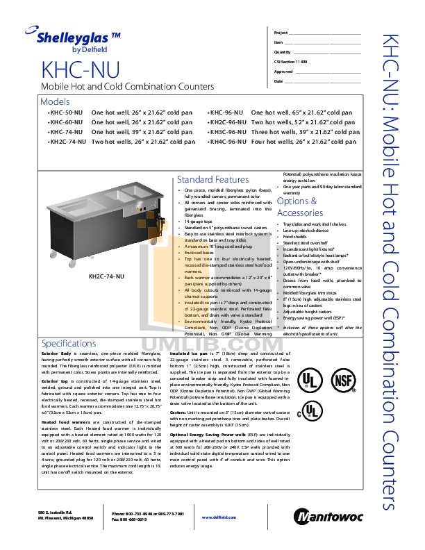 pdf for Delfield Other KH2C-96-NU Hot and Cold Counter manual