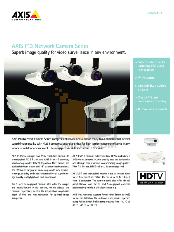 pdf for Axis Security Camera P1347 manual