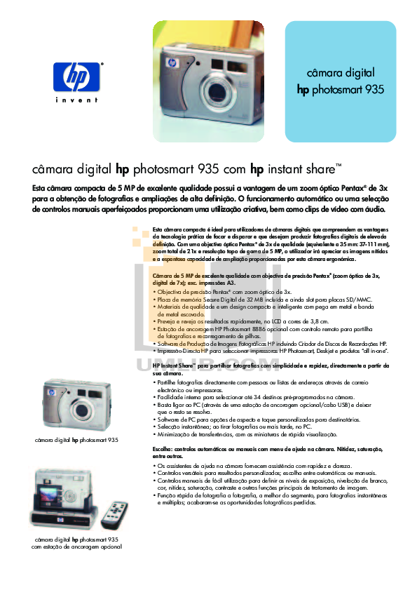 pdf for HP Digital Camera Photosmart 935 manual