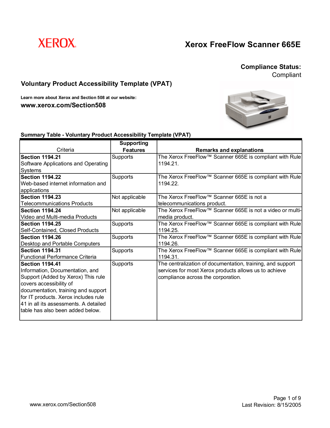 pdf for Xerox Scanner FreeFlow 665E manual