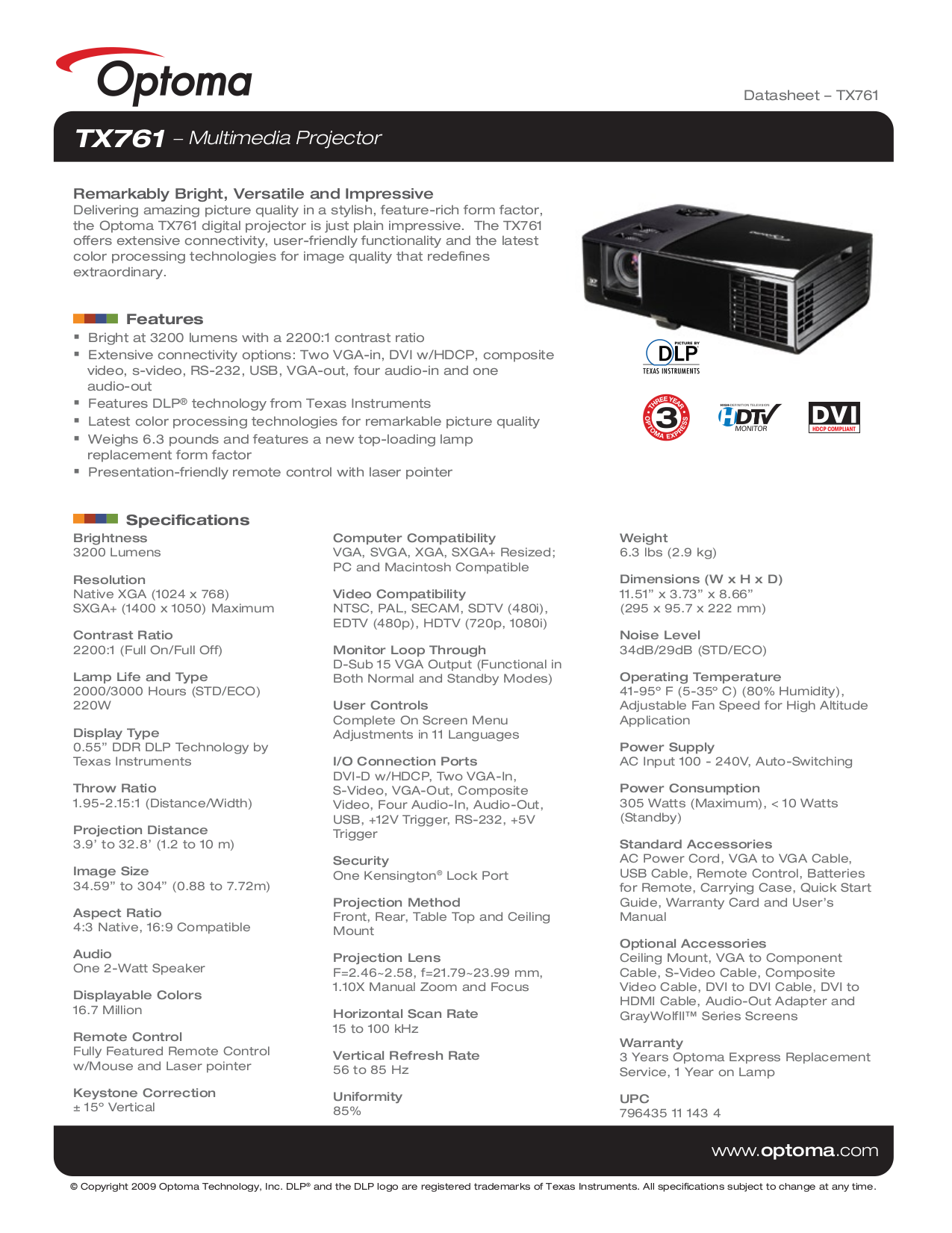 pdf for Optoma Projector TX761 manual