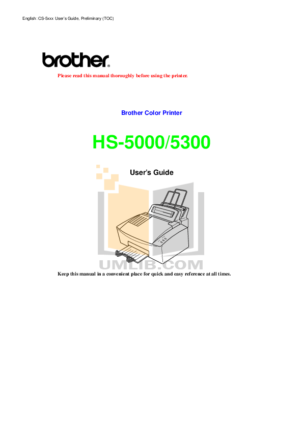 pdf for Brother Printer HS-5000 manual