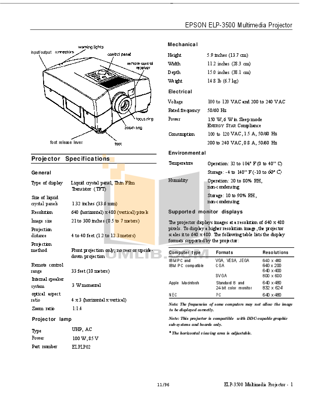 pdf for Epson Projector ELP-3500 manual