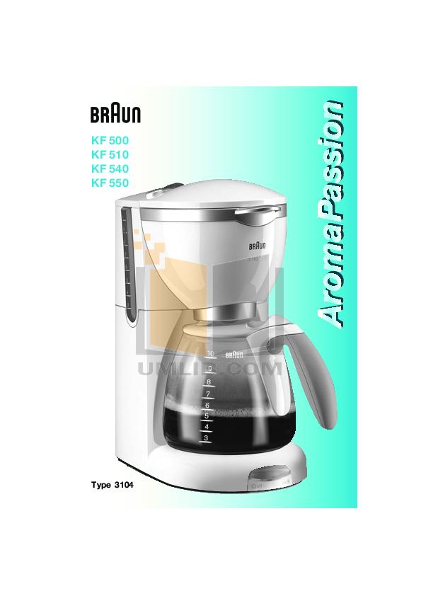 pdf for Braun Coffee Maker KF510 manual