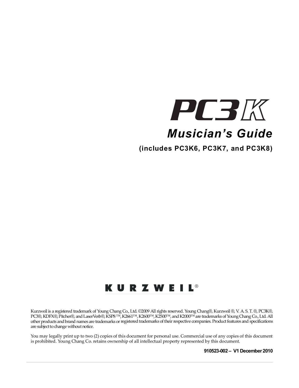 pdf for Kurzweil Music Keyboard K2600xs manual