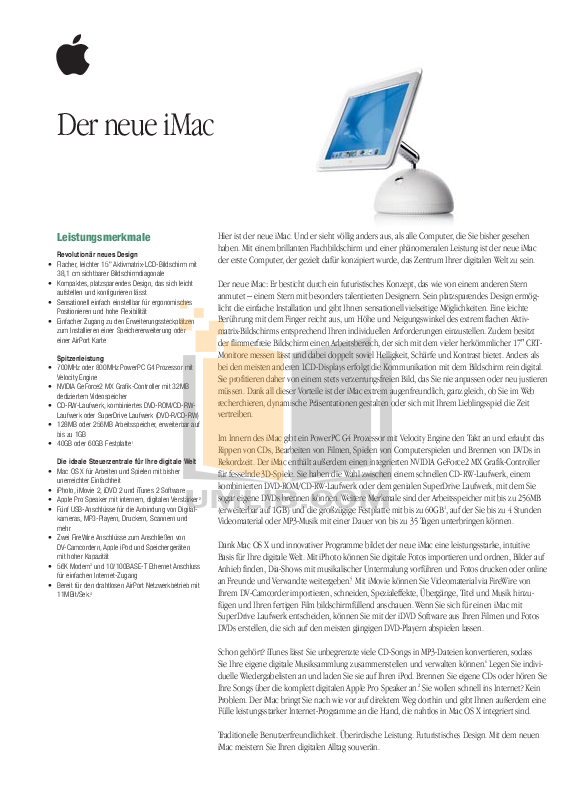 pdf for Apple Desktop iMac G4 M7677 manual
