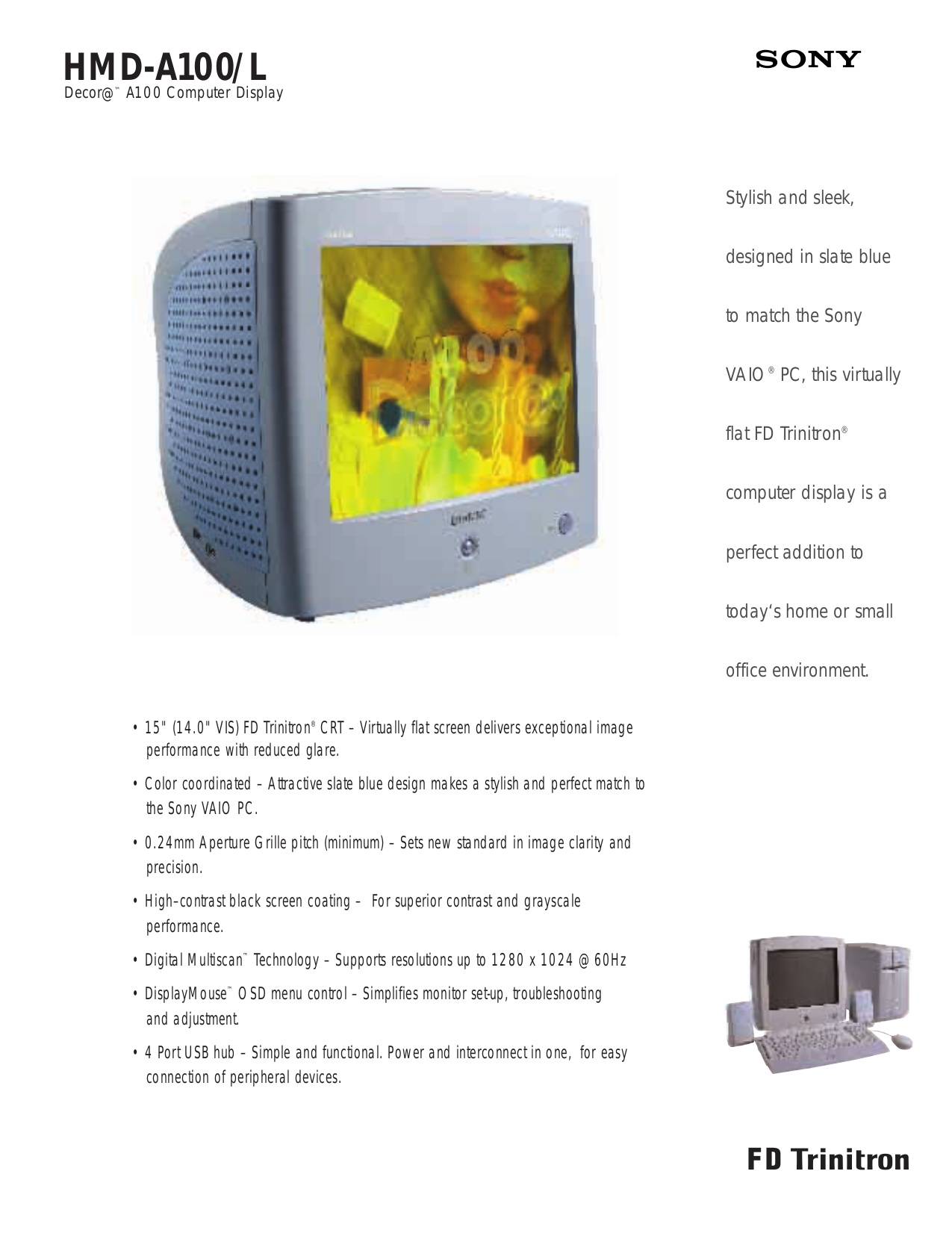 pdf for Sony Monitor HMD-A100 manual