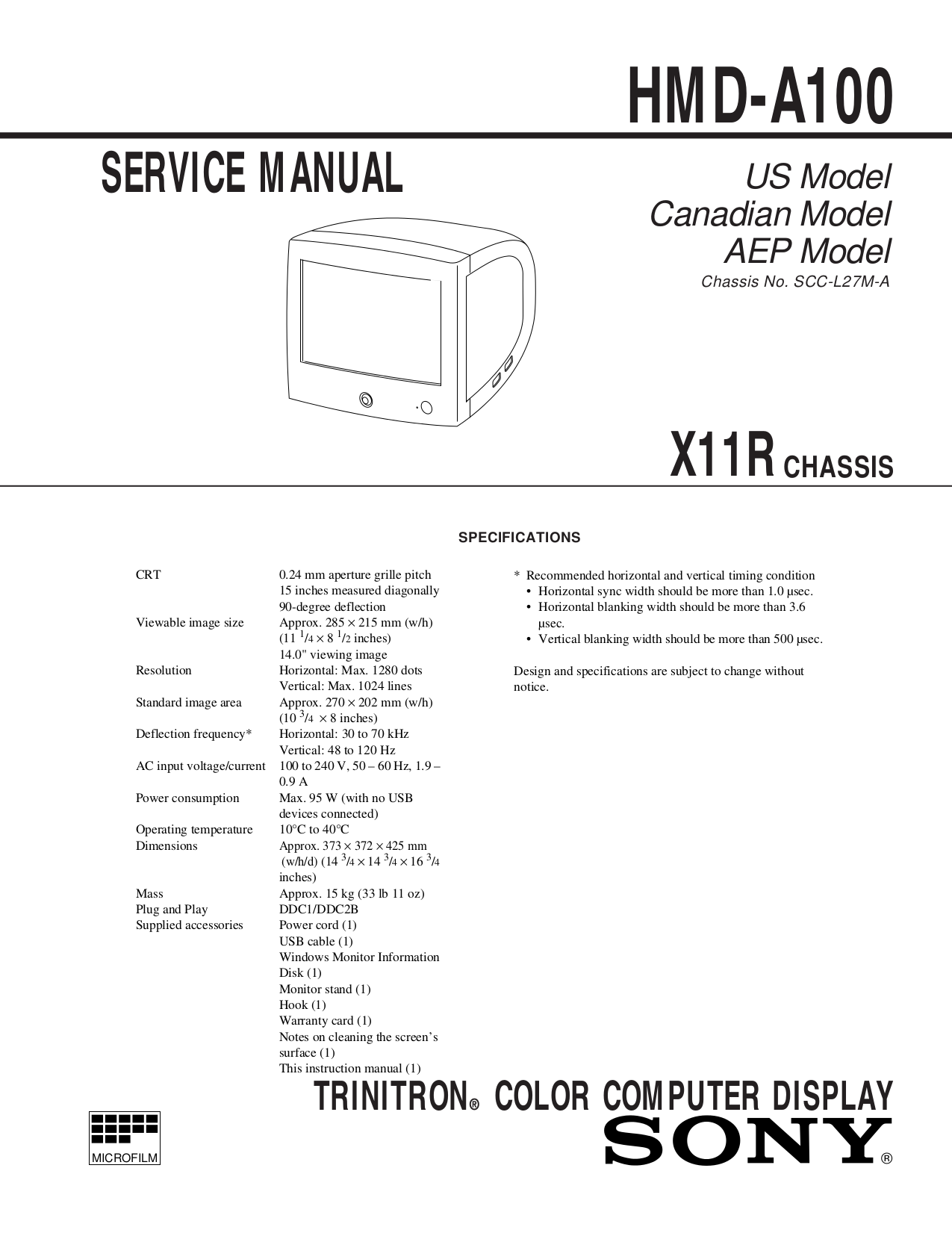 Sony Monitor HMD-A100 pdf page preview