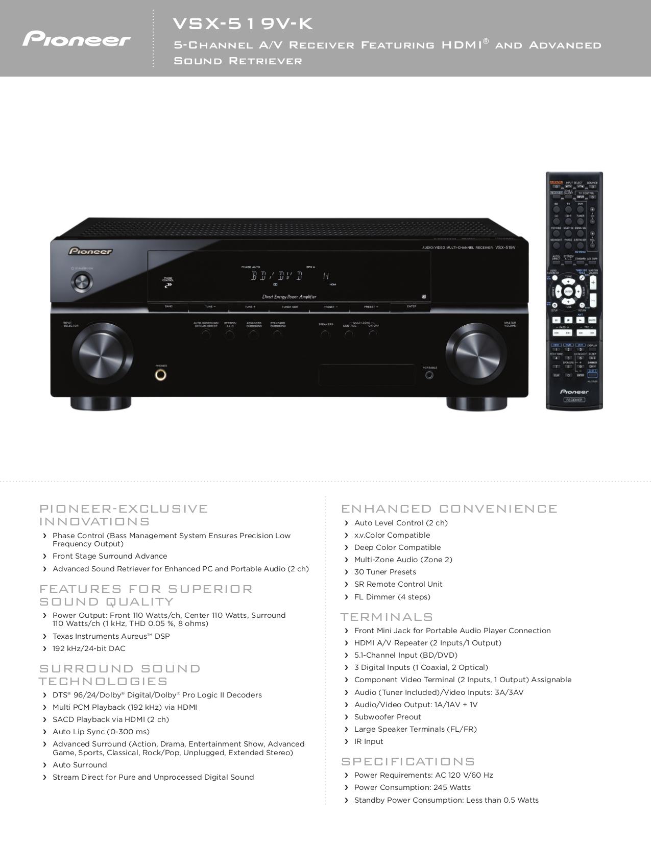 Pioneer vsx-519v-k av receiver gloss manual.