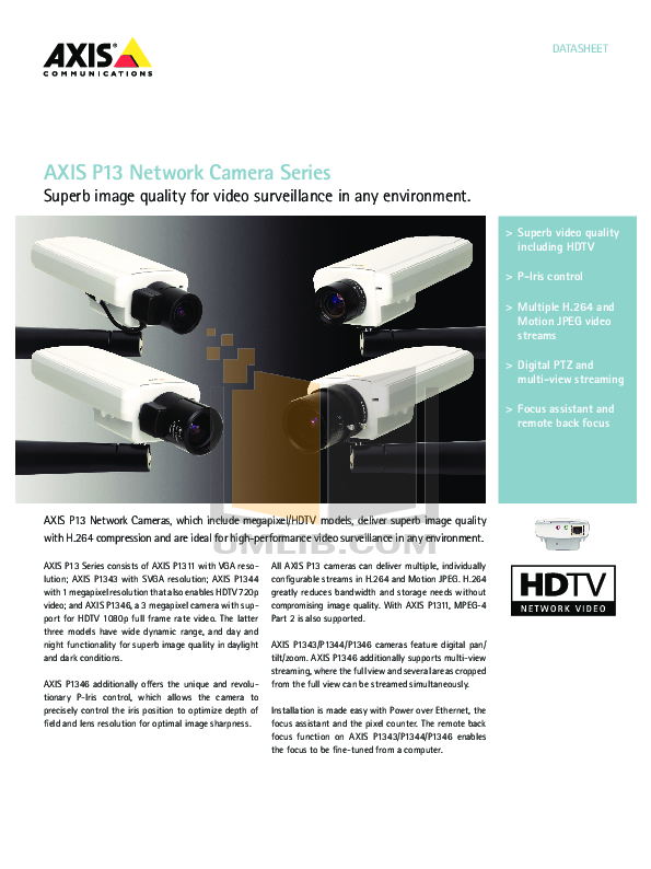 pdf for Axis Security Camera P1343-E manual