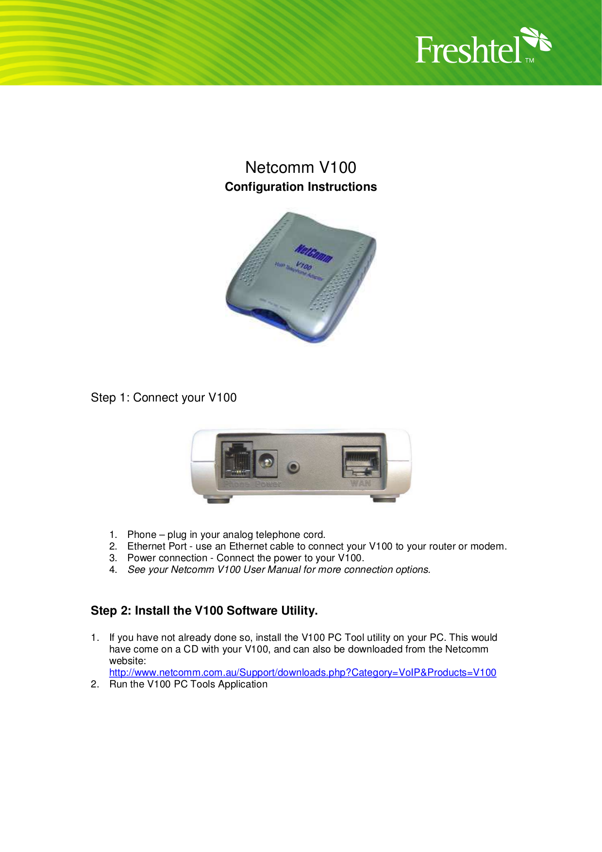 pdf for Netcomm Router V100 manual