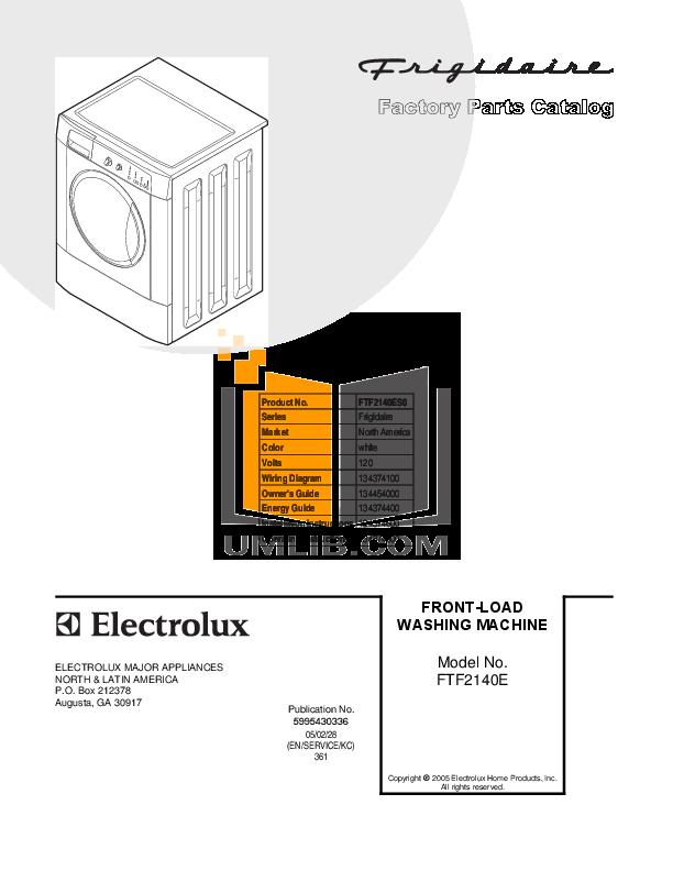 pdf for Frigidaire Washer FTF2140ES0 manual