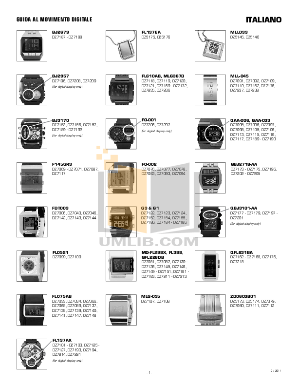 pdf for Diesel Watch DZ7193 manual