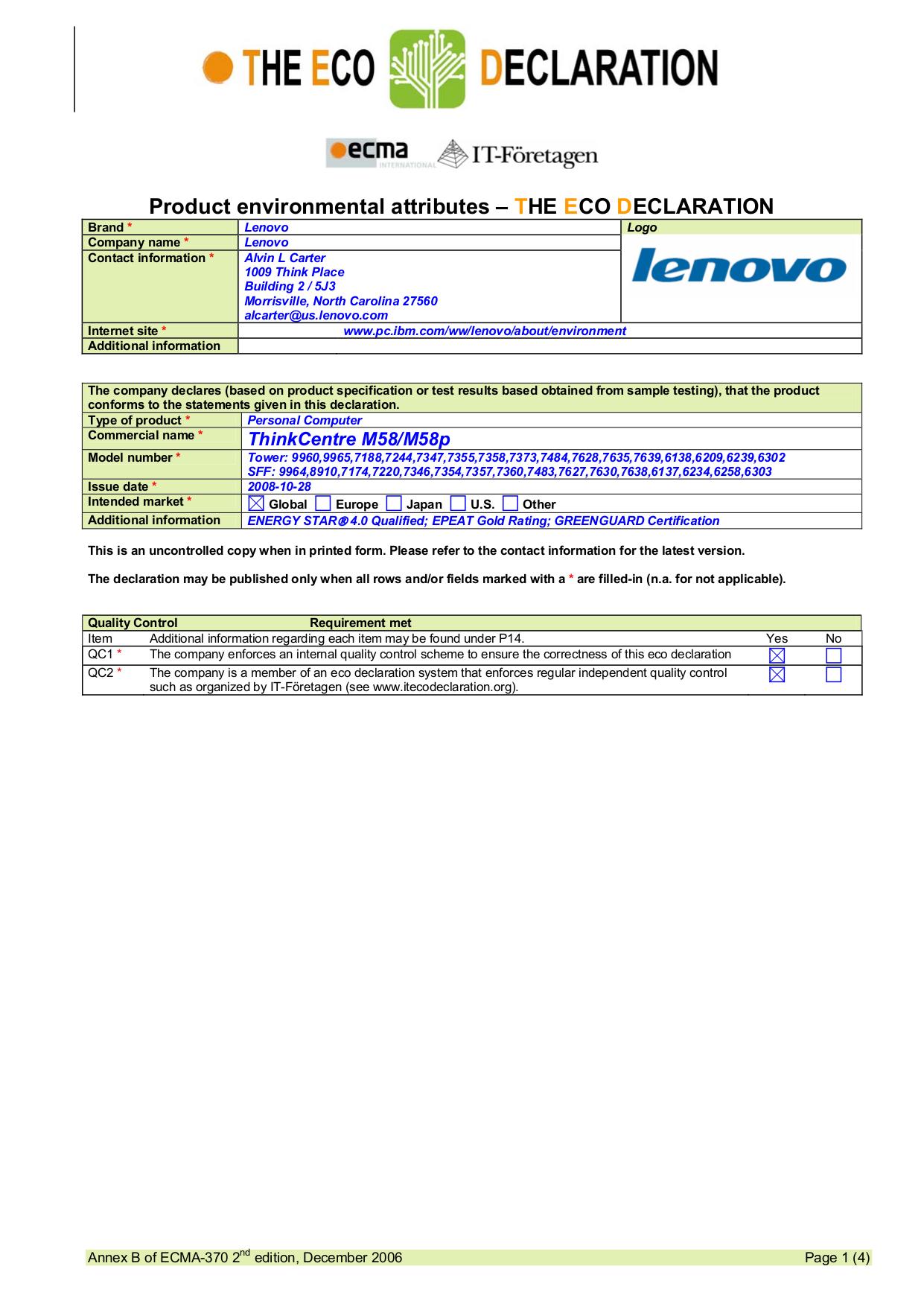 pdf for Lenovo Desktop ThinkCentre M58 7355 manual