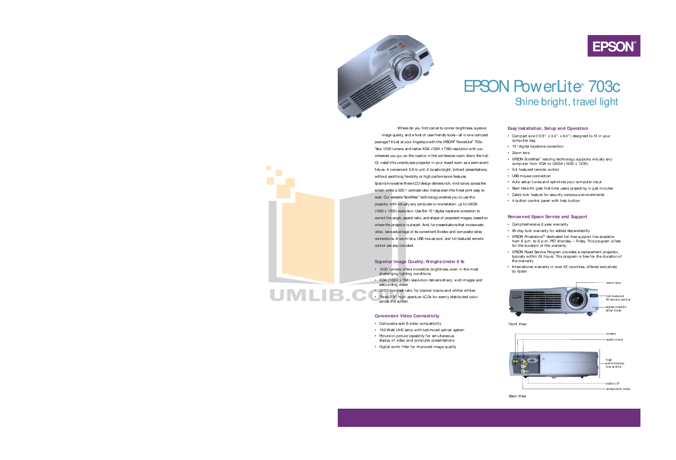 pdf for Epson Projector EMP-703 manual
