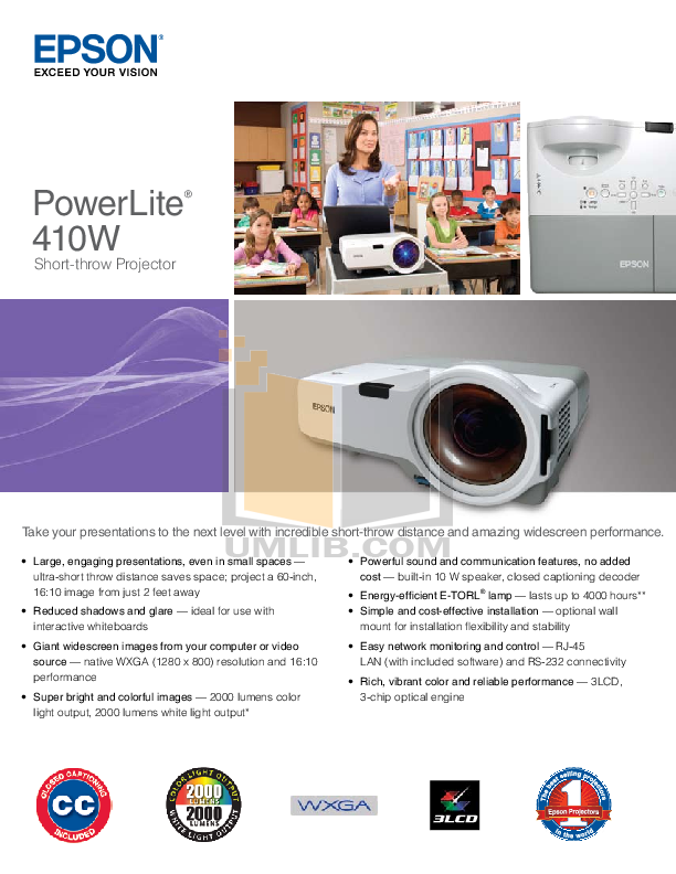 pdf for Epson Projector PowerLite 410W manual