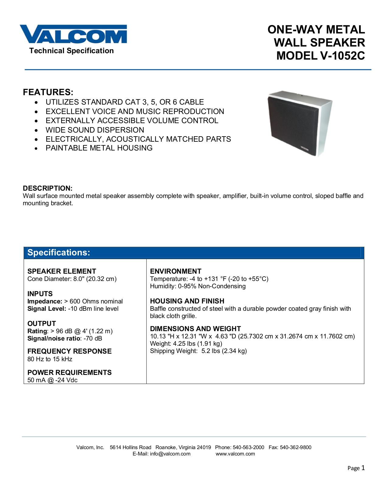 pdf for Valcom Speaker V1052C manual