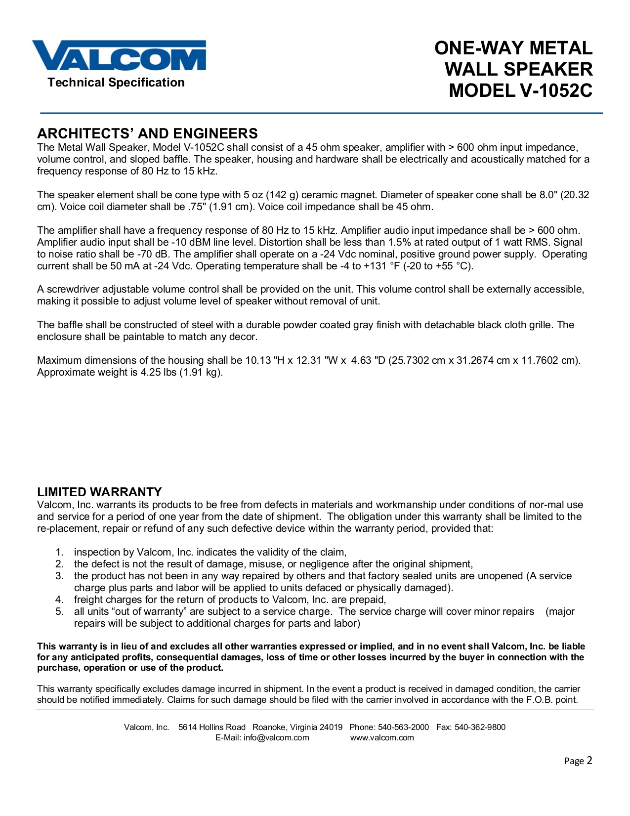 Valcom Speaker V1052C pdf page preview