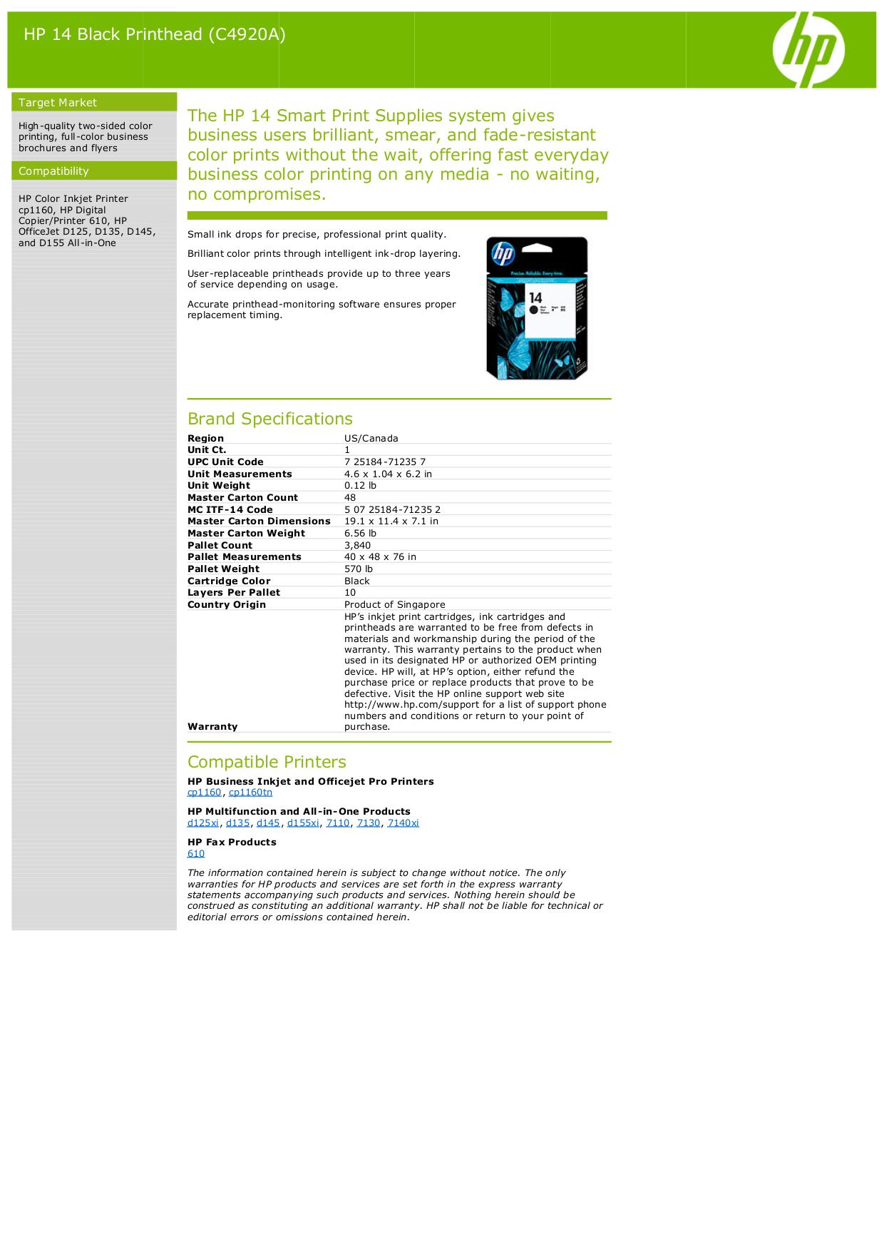 pdf for HP Printer Business Inkjet cp1160tn manual
