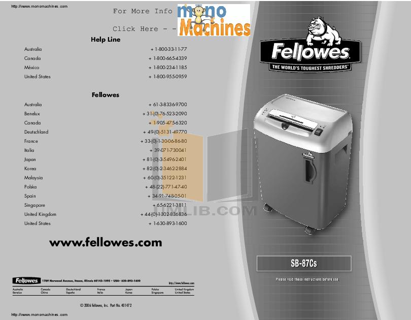 Sb-80 manual fellowes.