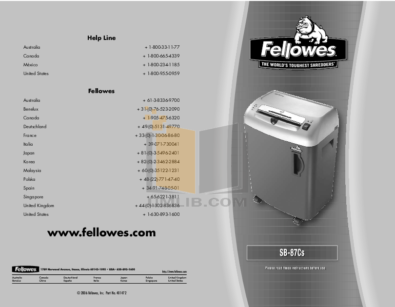 Download free pdf for fellowes sb-15c shredders other manual.