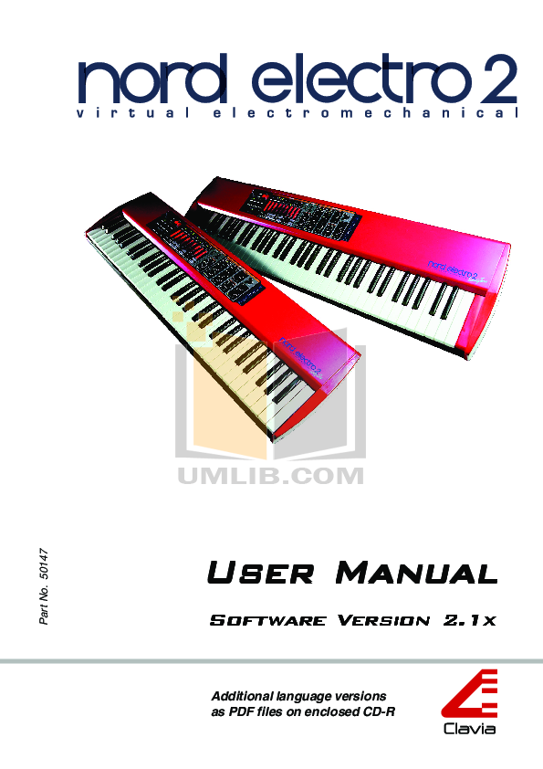 pdf for Clavia Music Keyboard Nord Electro 2 manual