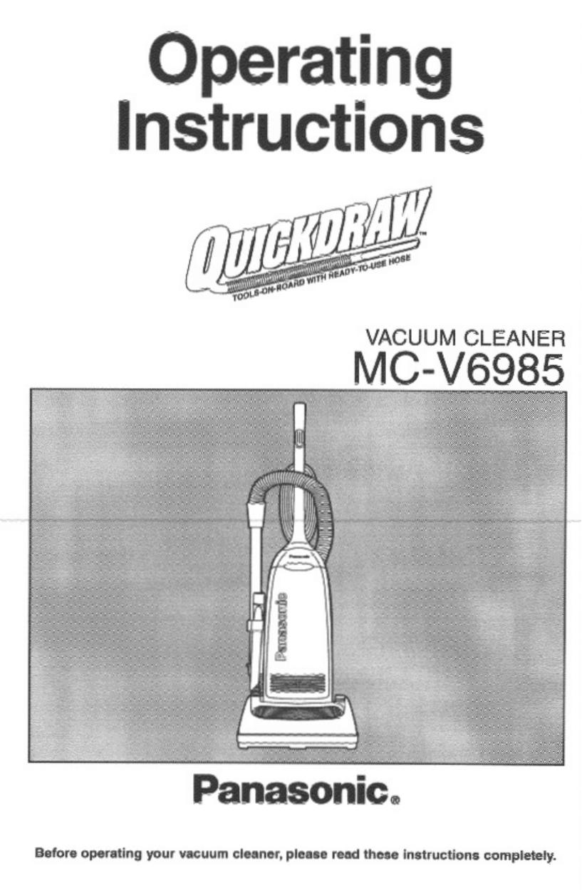 pdf for Panasonic Vacuum MC-V6985 manual