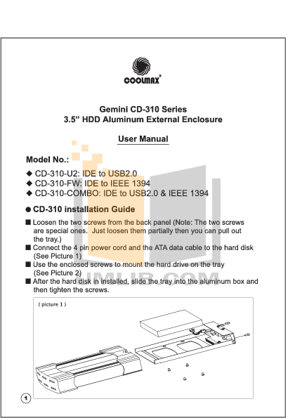 pdf for Coolmax Storage CD-310-U2 manual