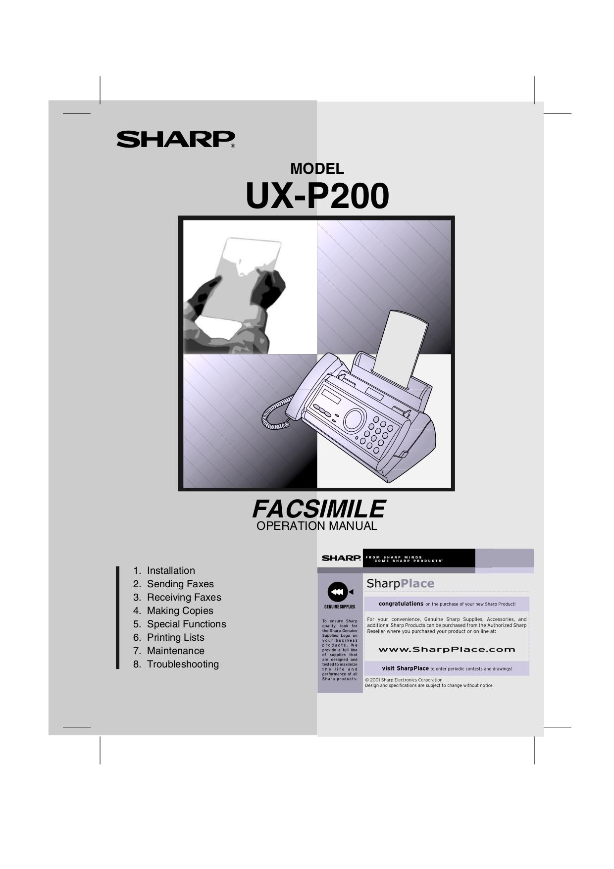 download free pdf for sharp ux p200 fax machine manual rh umlib com Sharp Fax Machine Telephone Sharp Fax Machines Product