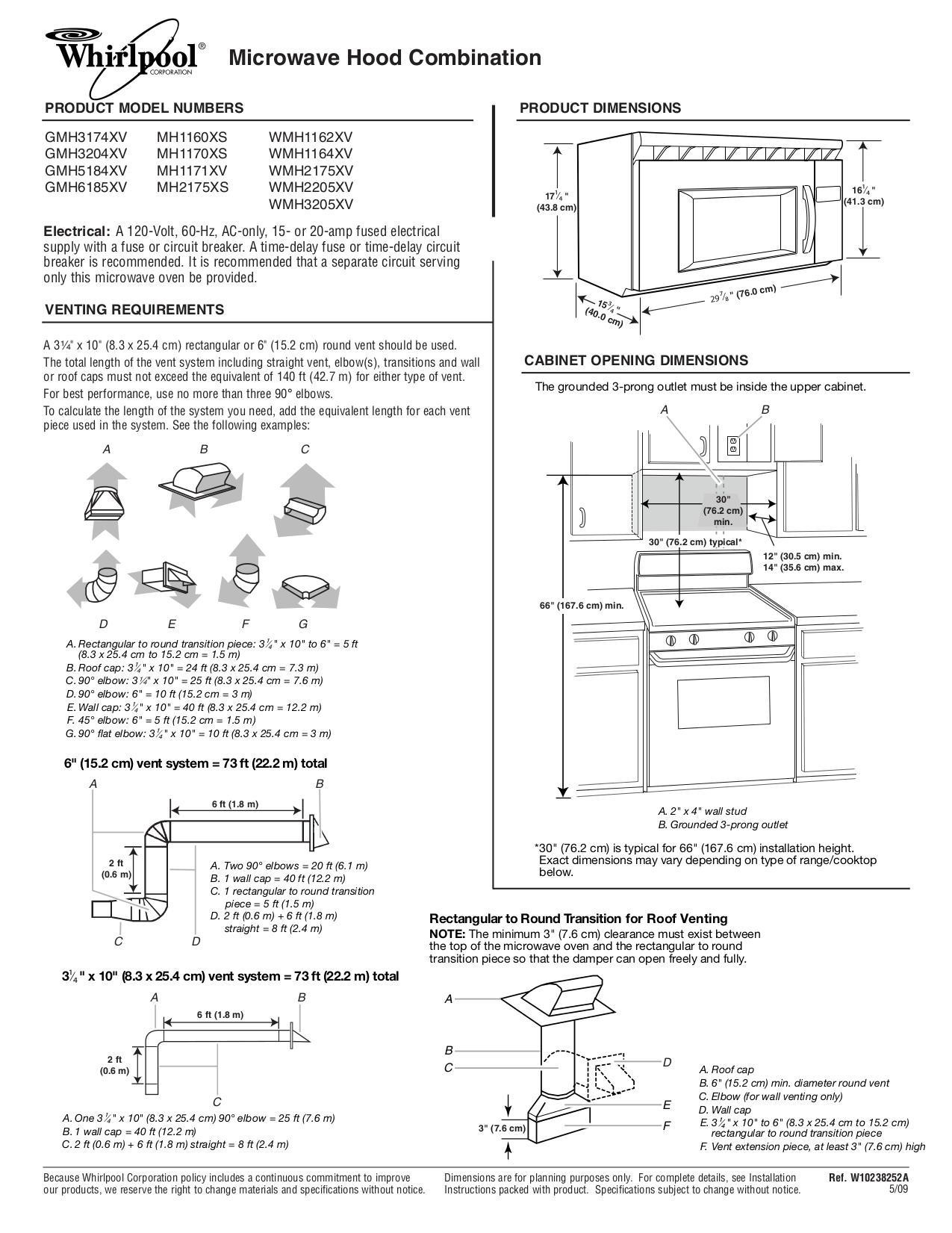 pdf for Whirlpool Microwave GMH6185XVS manual