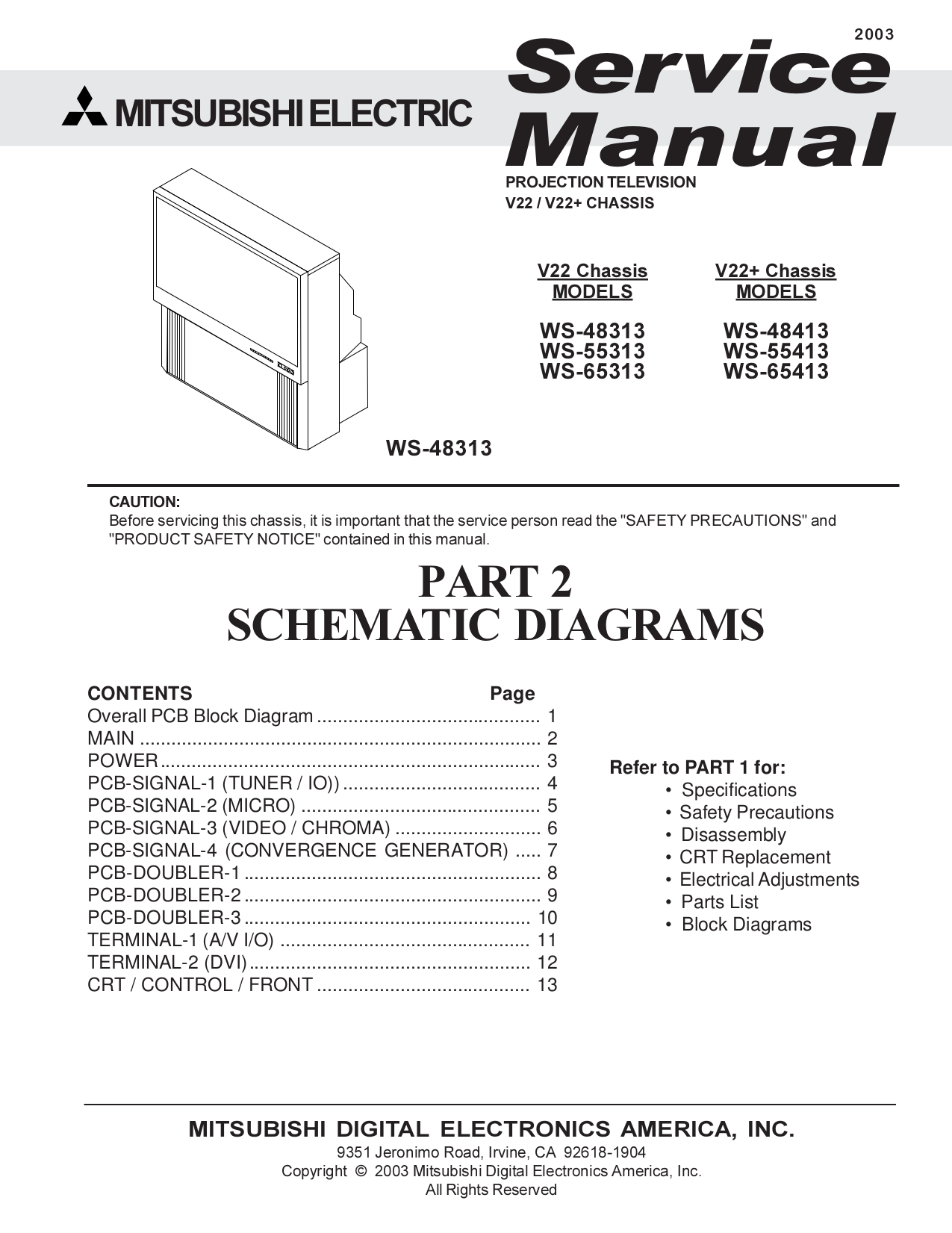 Schematic Diagram Mitsubishi Tv Trusted Wiring Online Panasonic Diagrams Download Free Pdf For Ws 48413 Manual