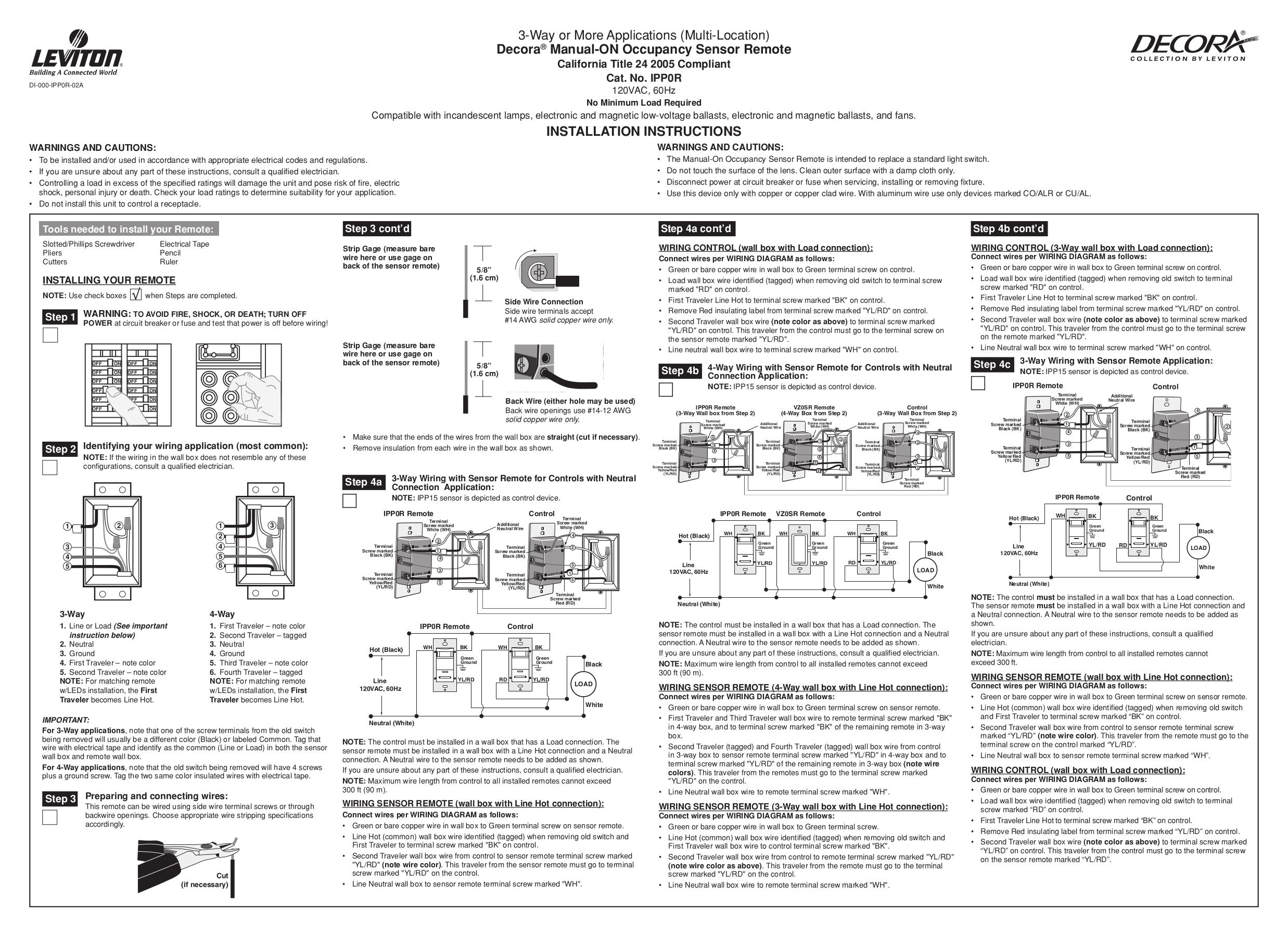 LVIPP0R1L_Guide.pdf 0 download free pdf for leviton vz0sr 1l device remotes other manual leviton occupancy sensor wiring diagram at sewacar.co