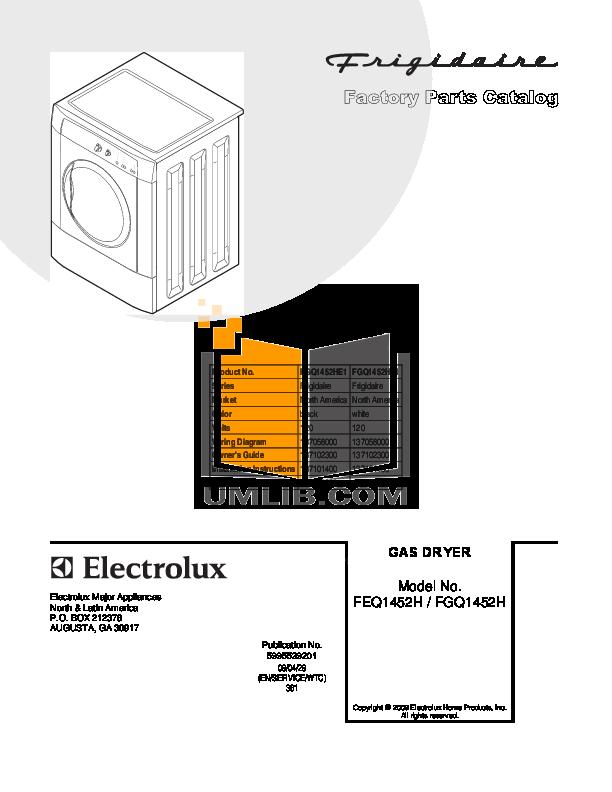 pdf for Frigidaire Dryer FGQ1452H manual