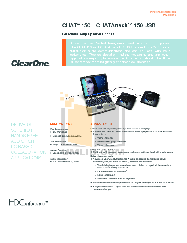 pdf for ClearOne Telephone Chat 150 manual
