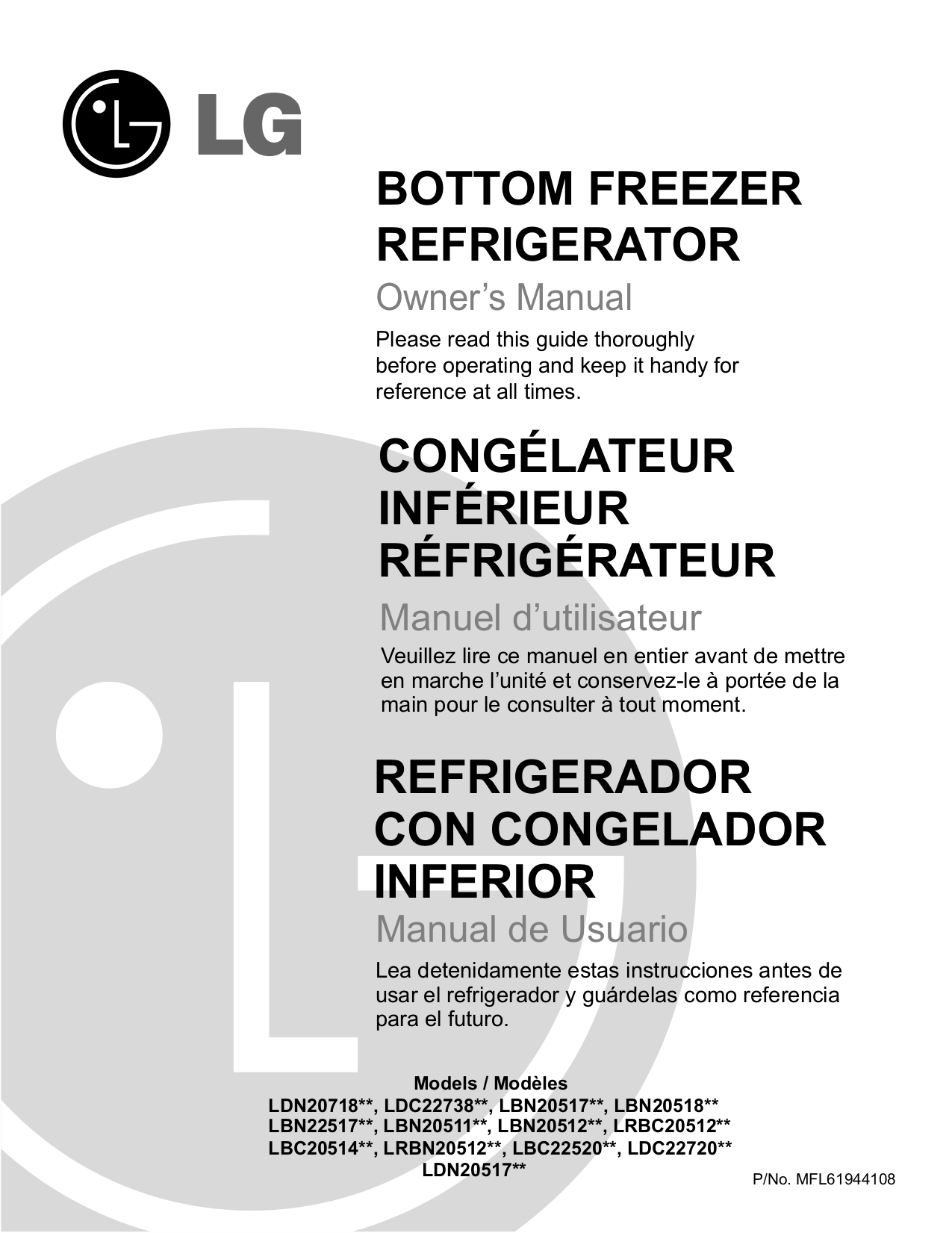 pdf for LG Refrigerator LRBC20512 manual