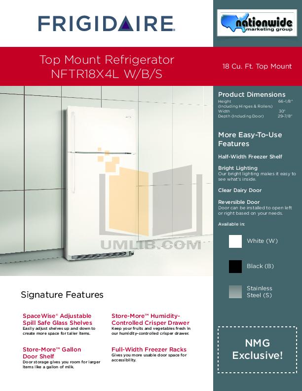 pdf for Frigidaire Refrigerator NFTR18X4LS manual