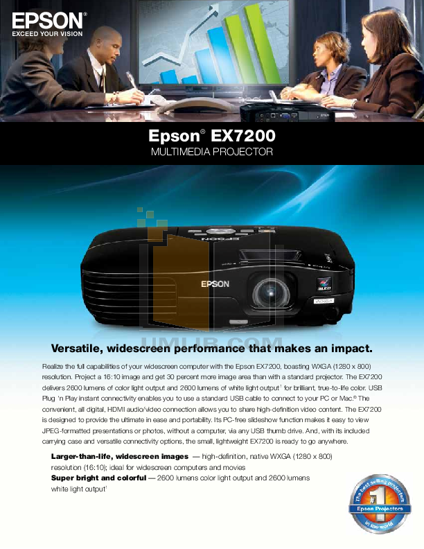 pdf for Epson Projector EX7200 manual