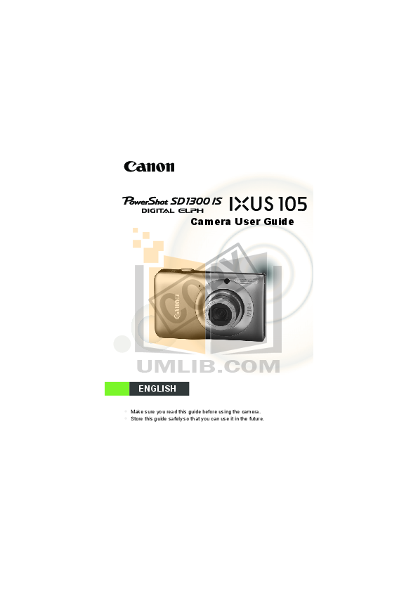 pdf for Canon Digital Camera Powershot SD1300 IS manual