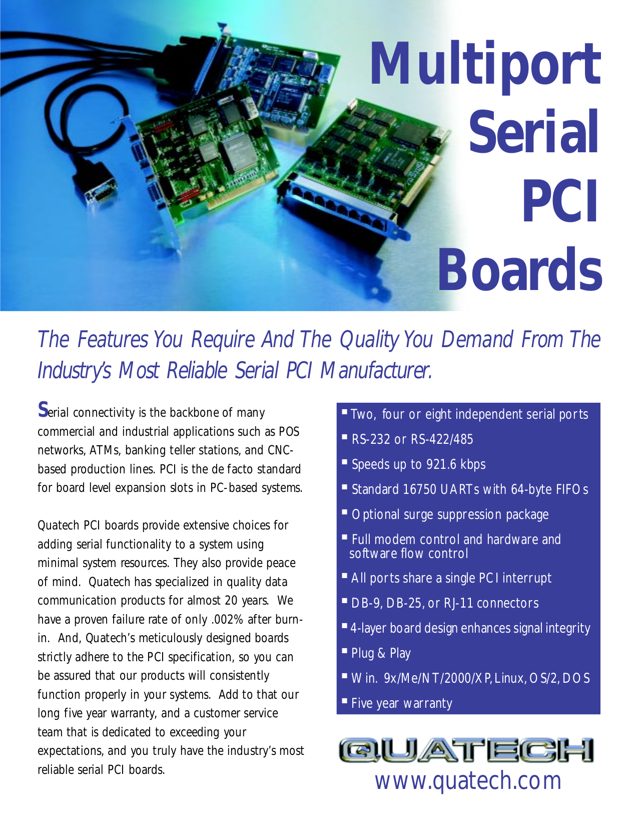 pdf for Quatech Other ESC-100-D9 PCI Serial Boards manual