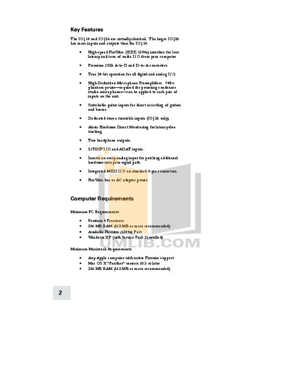 Alesis Amp iO14 pdf page preview