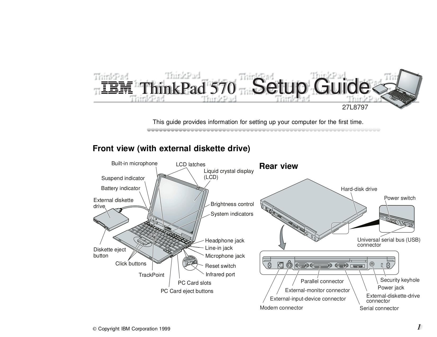 pdf for IBM Laptop ThinkPad 570E manual