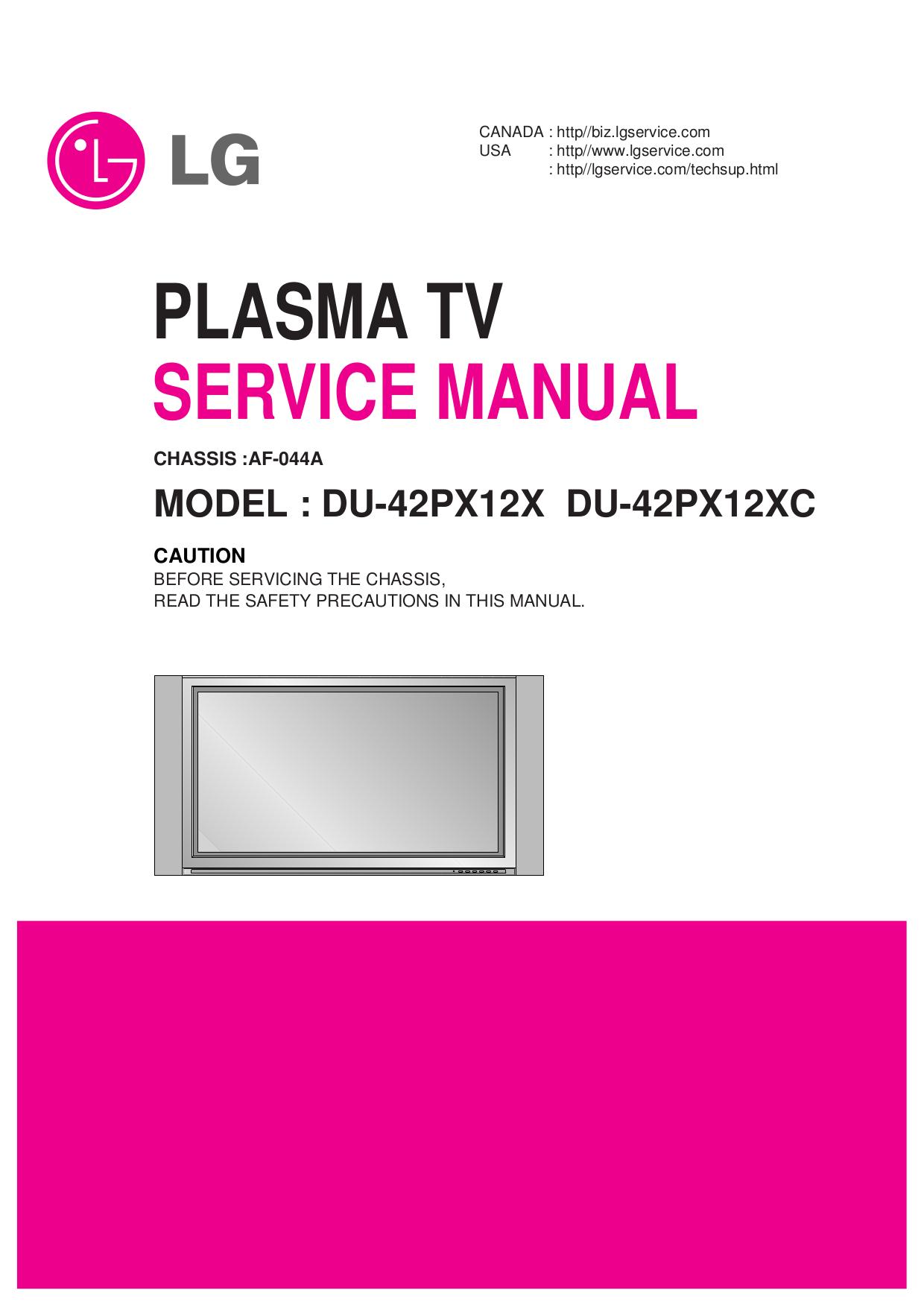 pdf for LG TV DU-42PX12X manual