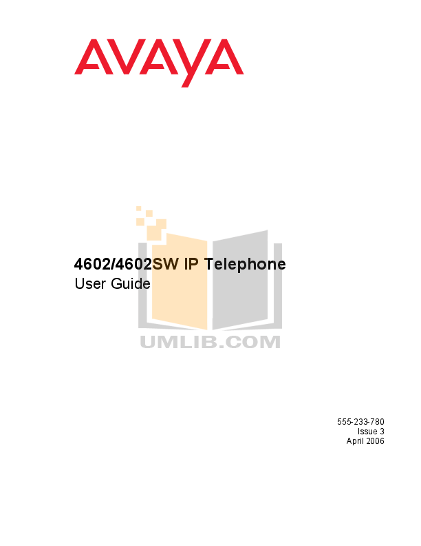 pdf for Avaya Telephone 4602SW manual