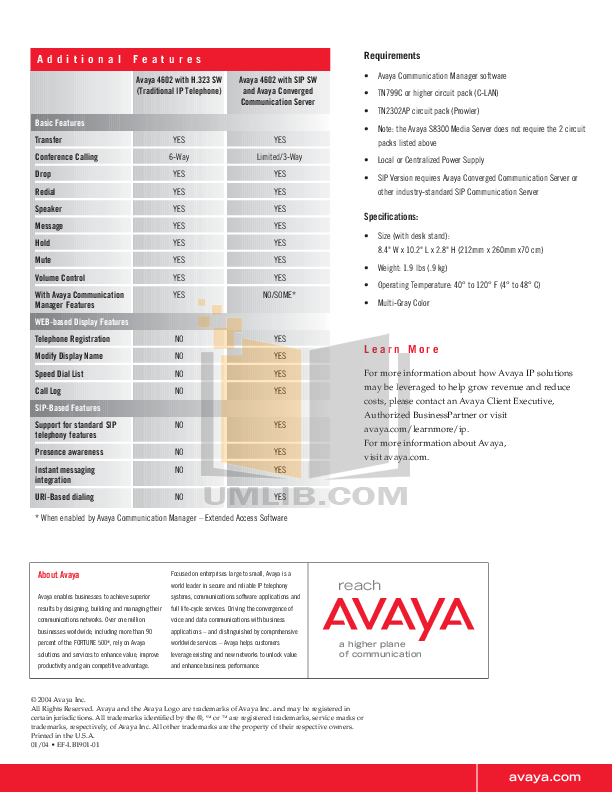Avaya Telephone 4602SW pdf page preview